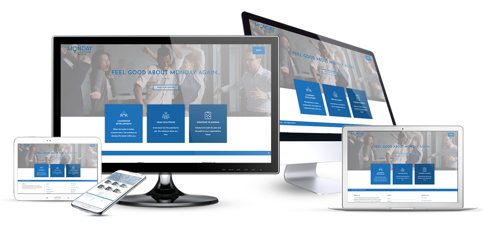 Begin Monday Consulting Website Multi Device Mockup