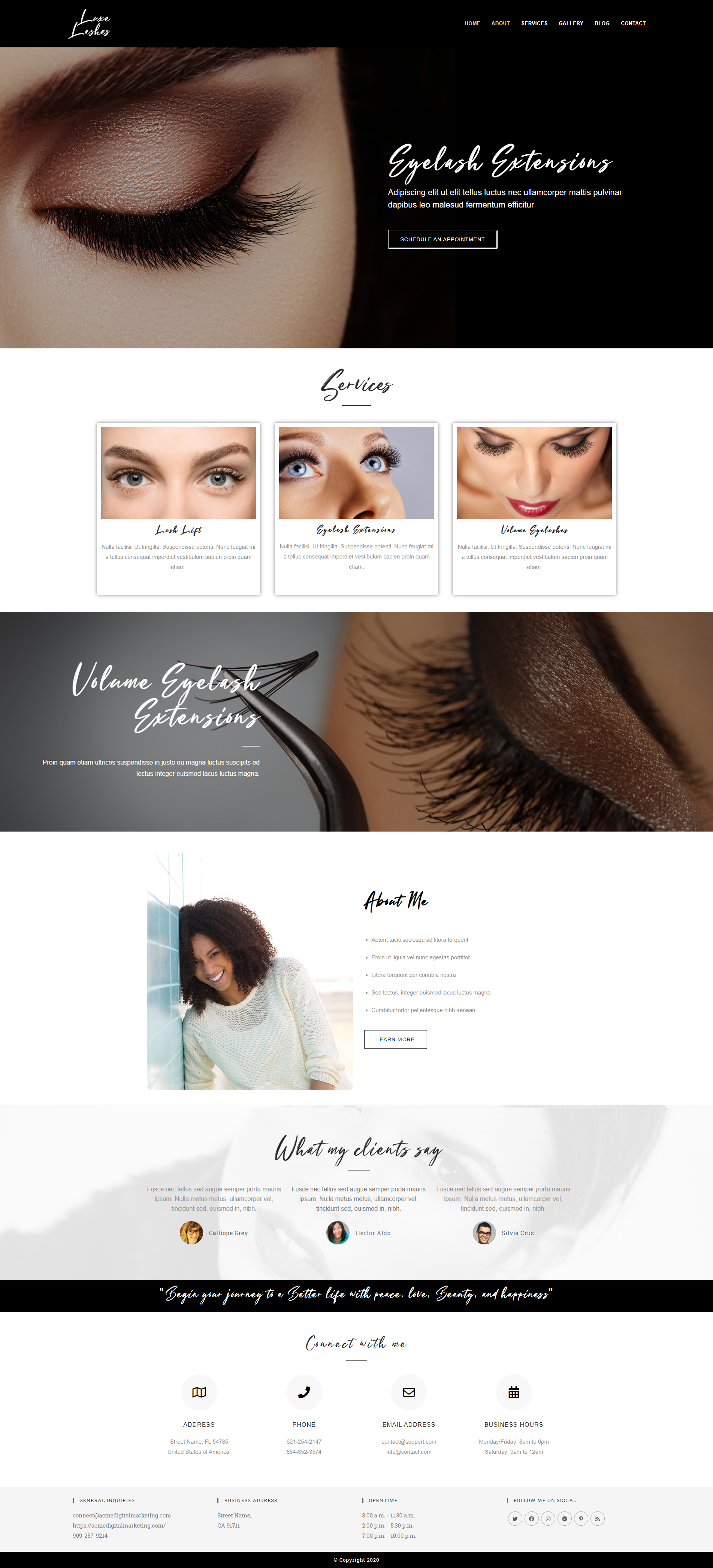Eyelash Extensions Demo Site Home Page