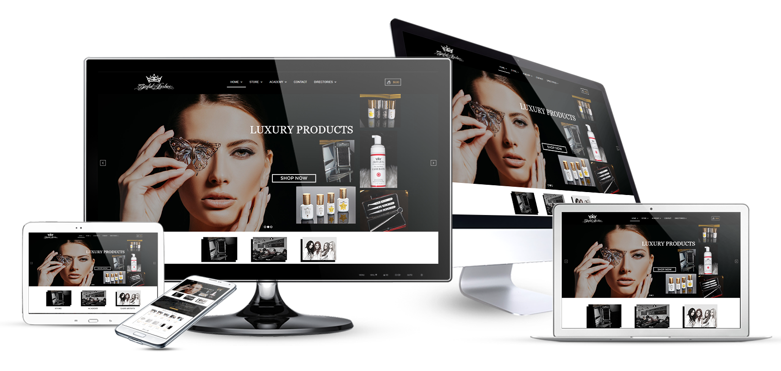 ecommerce website design eyelash extensions multi device