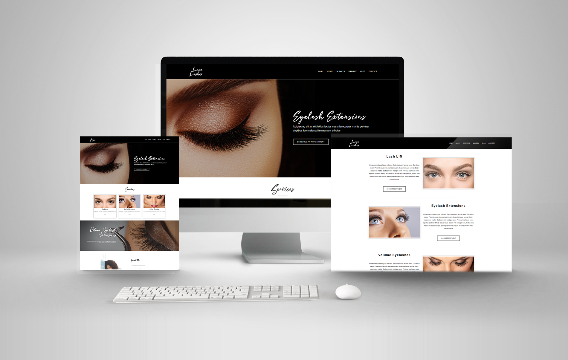 eyelash extensions demo website mockup