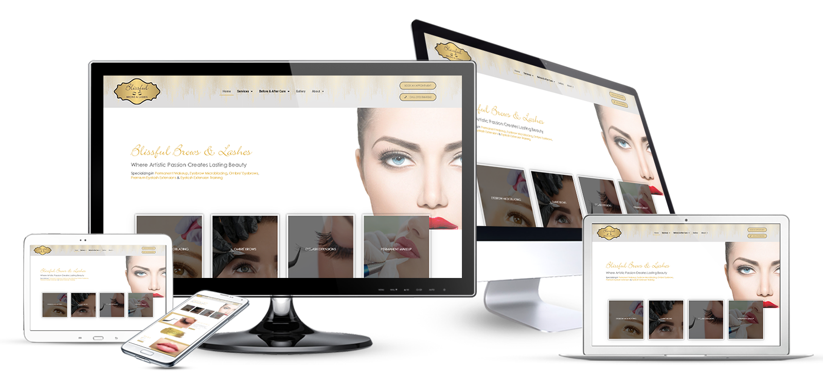 health and beauty website design eyelash extensions