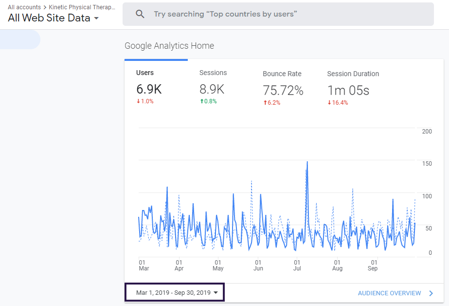 Local SEO Case Study Google Analtyics Quarter Report Before Snapshot