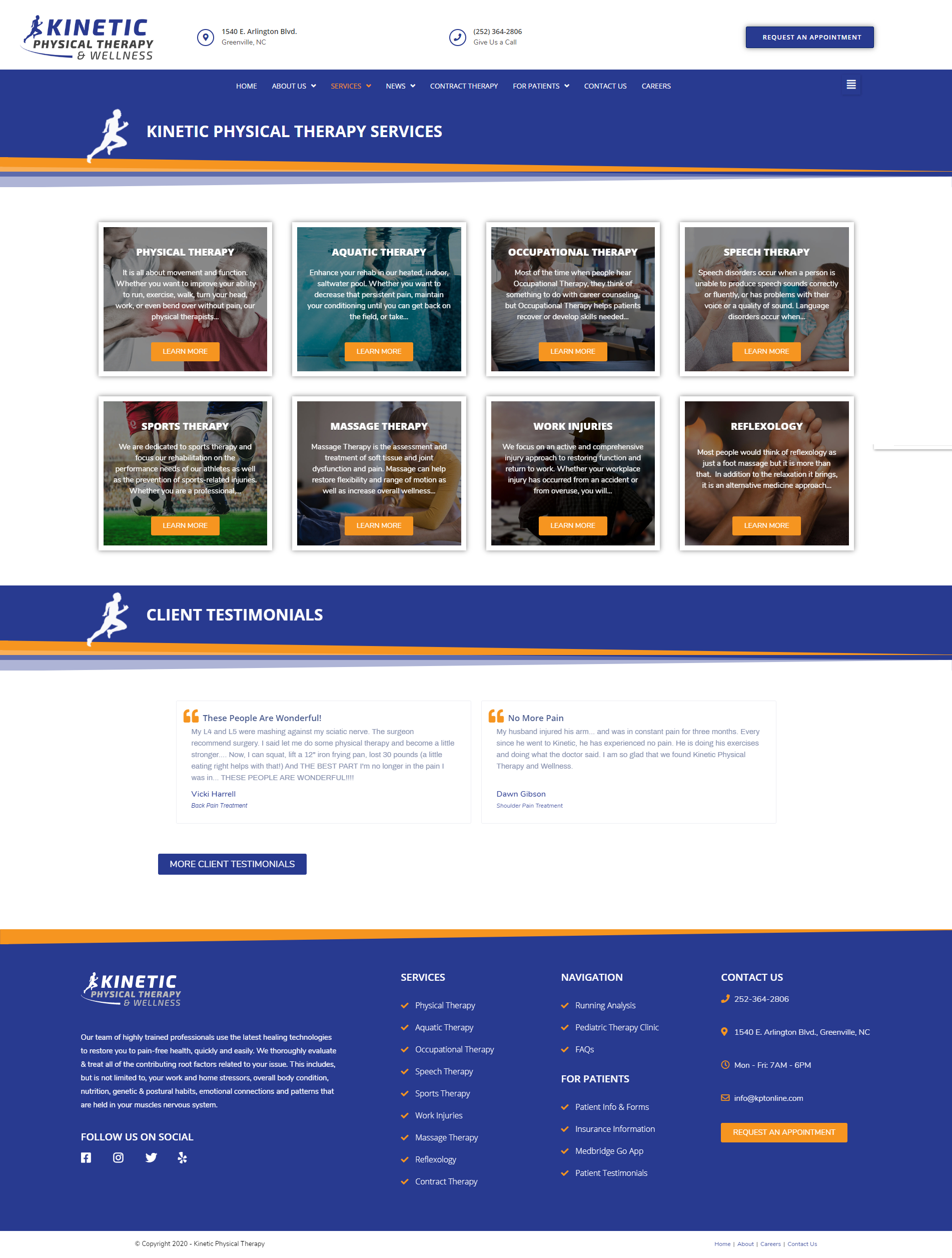 Physical Therapyist Website Design Service Page Example